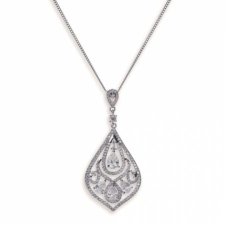 Ivory and Co Chinatown Art Deco Crystal Pendant Necklace