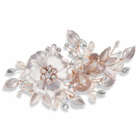 Ivory and Co Copper Rose Gold Enamelled Floral Hair Clip