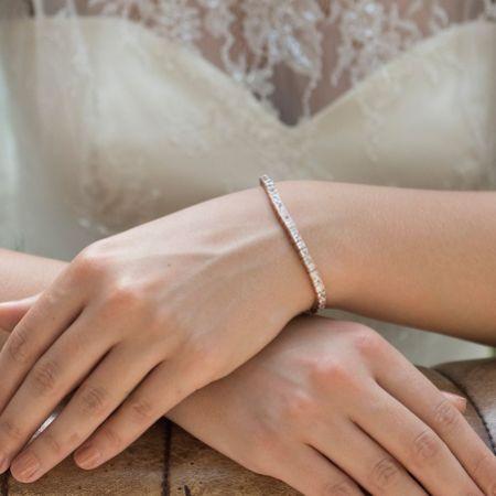 Ivory and Co Elegance Cubic Zirconia Wedding Bracelet (Rose Gold)