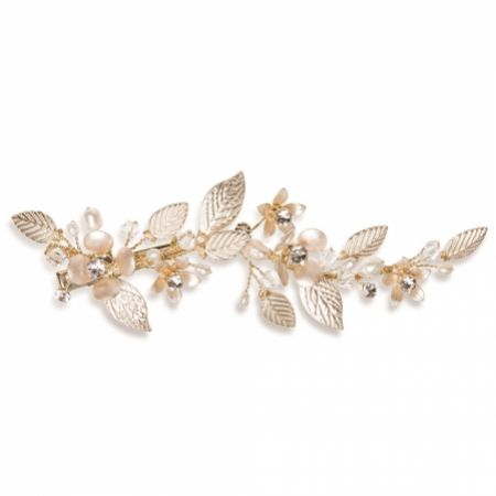 Ivory and Co Golden Poppy Enamelled Floral Vine Hair Clip