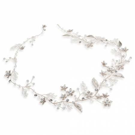 Ivory and Co Ice Rose Enamelled Silver Wedding Hair Vine