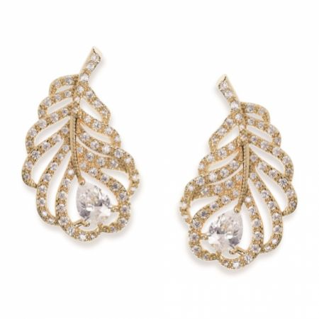 Ivory and Co Long Island Gold Crystal Embellished Feather Earrings