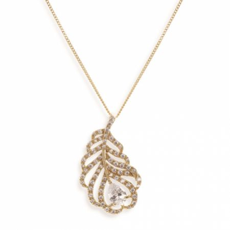 Ivory and Co Long Island Gold Crystal Embellished Feather Pendant