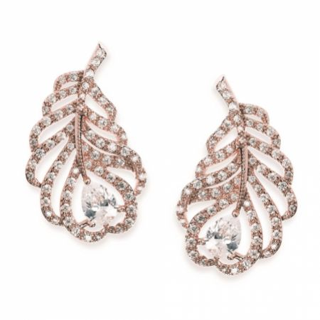 Ivory and Co Long Island Rose Gold Crystal Feather Earrings