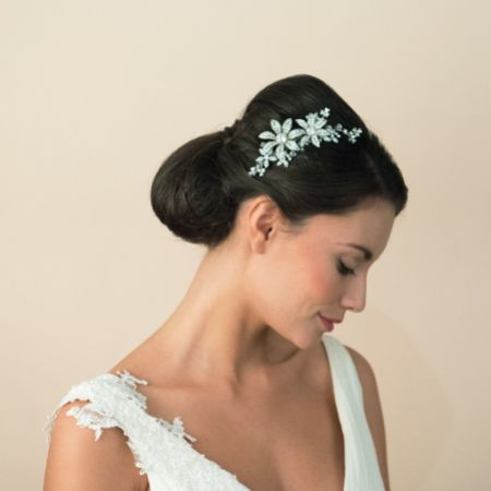 Ivory and Co Lotus Crystal Flowers and Leaves Bridal Hair Comb