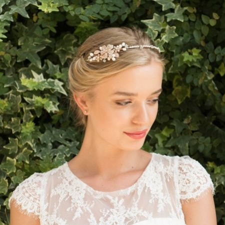Ivory and Co Molly Rose Gold Pearl and Crystal Bridal Headband