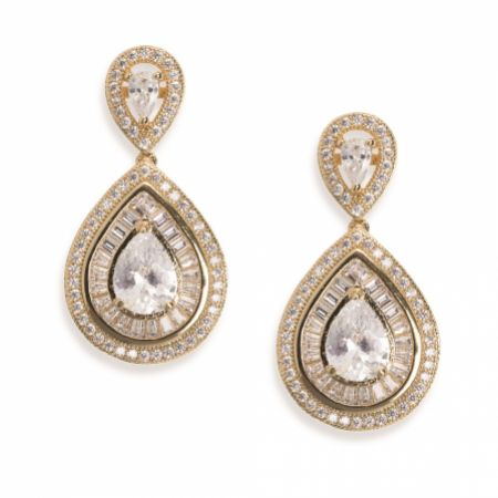 Ivory and Co Montgomery Gold Art Deco Crystal Drop Earrings