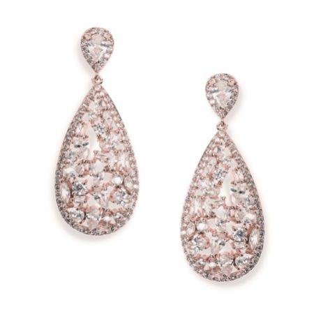 Ivory and Co Pasadena Crystal Teardrop Earrings (Rose Gold)