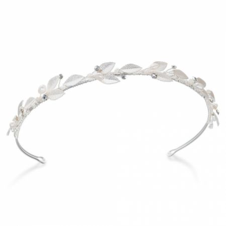 Ivory and Co Pearl Dream Silver Enamelled Leaves Wedding Headband