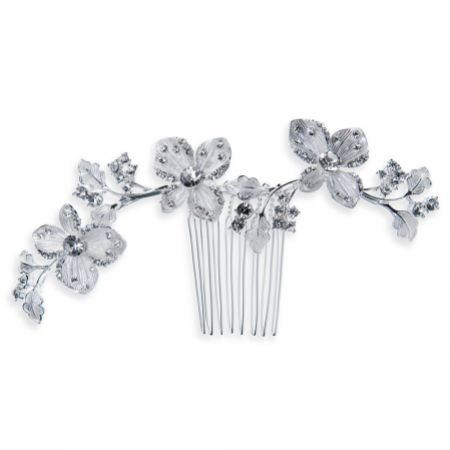 Ivory and Co Peony Silver Vine of Flowers Wedding Hair Comb