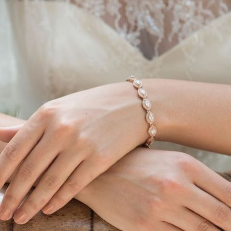 Ivory and Co Promise Cubic Zirconia Wedding Bracelet (Rose Gold)