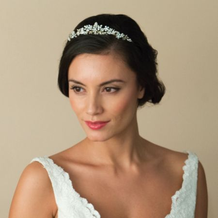Ivory and Co Sierra Gold Floral Pearl and Crystal Bridal Tiara