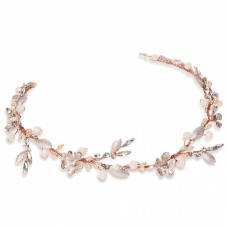 Ivory and Co Titania Rose Gold Blush Crystal Floral Hair Vine