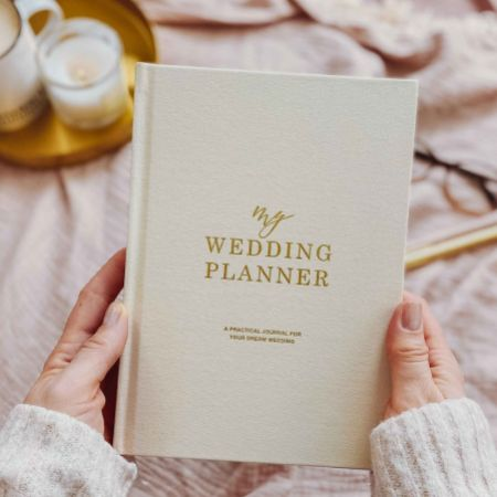 Ivory Cotton Linen Wedding Planner Book with Gilded Edges
