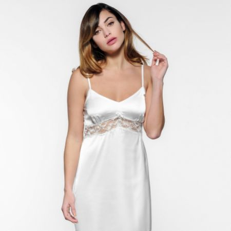 Ivory Satin and French Lace Wedding Night Dress