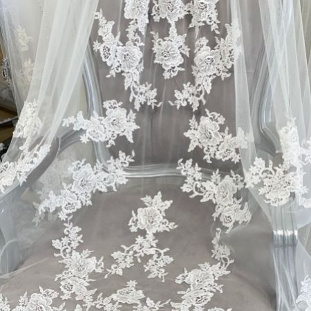 Joyce Jackson Arabian Nights Single Tier Cathedral Veil with Floral Lace Motifs