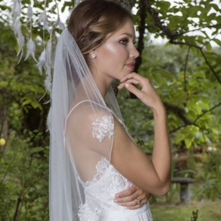 Joyce Jackson Cosmos Single Tier Veil with Scattered Lace Motifs