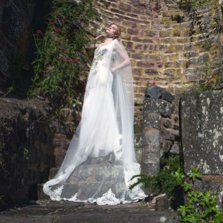 Joyce Jackson Kensington Beaded Lace Chapel Length Veil