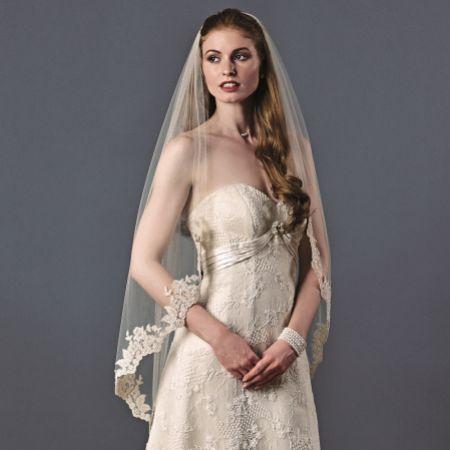 Joyce Jackson Santa Ana Single Tier Beaded Lace Edge Veil
