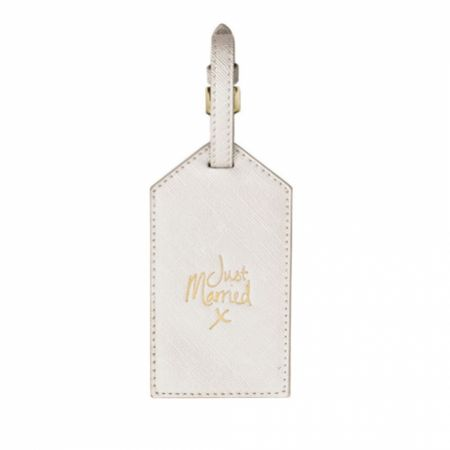 Katie Loxton 'Just Married' Metallic White Luggage Tag