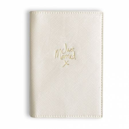 Katie Loxton 'Just Married' Metallic White Passport Cover