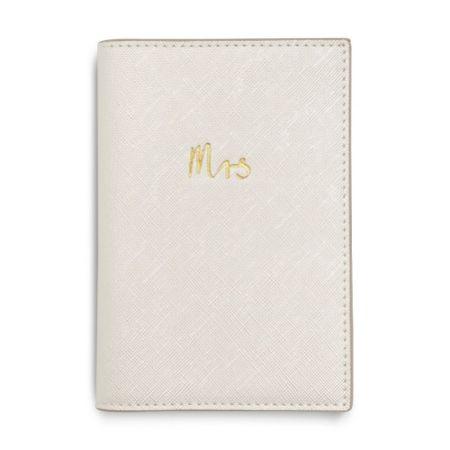 Katie Loxton 'Mrs' Pearlescent White Passport Holder