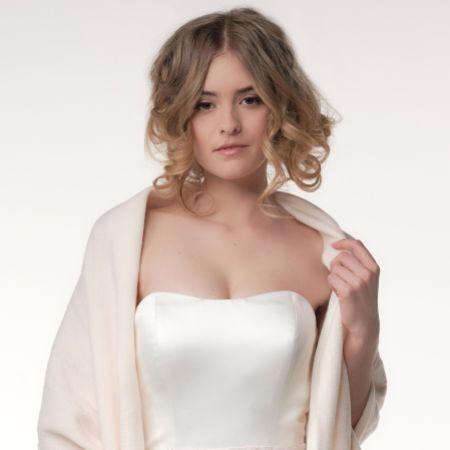 Katya Reversible Ivory/Blush Knitted Wedding Shawl with Fringe