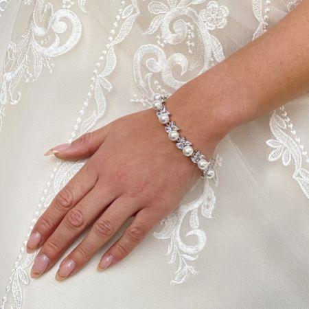 Lauren Pearl and Crystal Wedding Bracelet