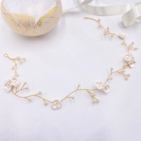 Letisha Ivory Flowers and Pearl Sprigs Wedding Hair Vine (Gold)