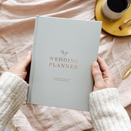 Light Grey and Rose Gold Luxury Wedding Planner Book with Gilded Edges