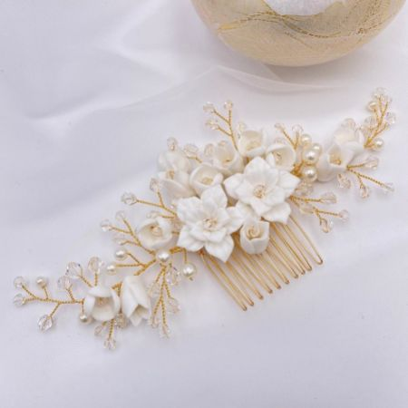 Lily of the Valley Porcelain Flowers Wedding Hair Comb (Gold)