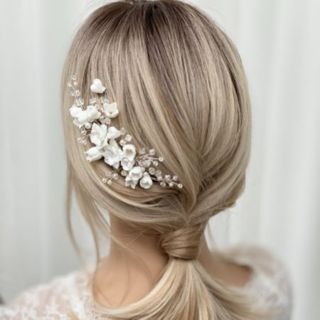 Lily of the Valley Porcelain Flowers Wedding Hair Comb (Silver)
