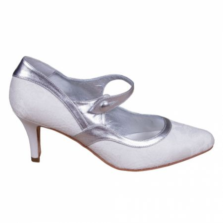 Lindsey May Amelia Ivory Lace and Silver Leather Mary Jane Shoes