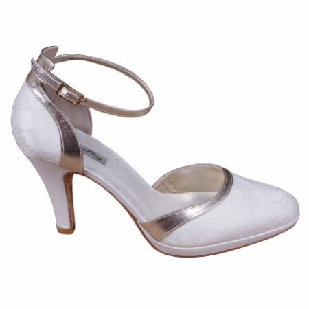 Lindsey May Elena Ivory Lace and Leather Ankle Strap Shoes with Gold Trim