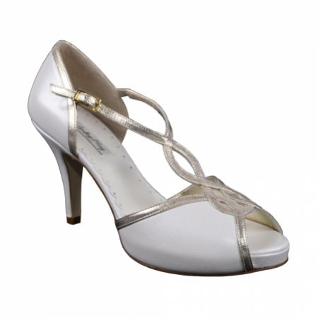 Lindsey May Julieta Ivory Leather T-Bar Platform Sandals with Gold Trim