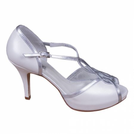Lindsey May Julieta Ivory Leather T-Bar Platform Sandals with Silver Trim