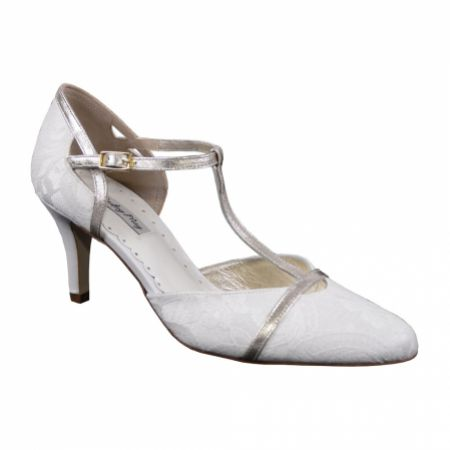 Lindsey May Sophia Ivory Lace and Gold Leather T-Bar Shoes