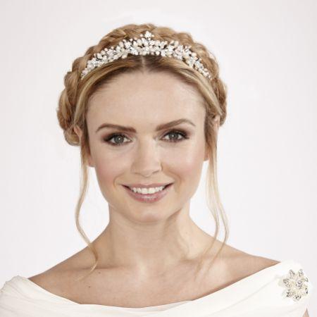 Linzi Jay Diamante Leaves and Pearl Bridal Tiara LT563