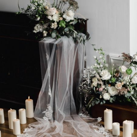 Linzi Jay Ivory Single Tier Chapel Veil with Floral Lace Motifs LA963
