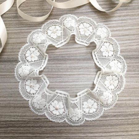 Linzi Jay Simple Ivory Lace Wedding Garter with Pearls