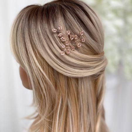 Livy Rose Gold Beaded Wedding Hair Pin