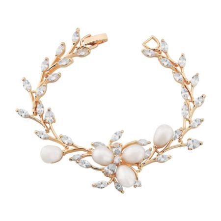 Lola Freshwater Pearl and Crystal Leaves Wedding Bracelet (Rose Gold)