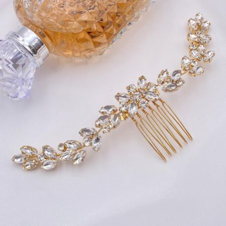 Luna Gold Small Crystal Embellished Wedding Hair Comb