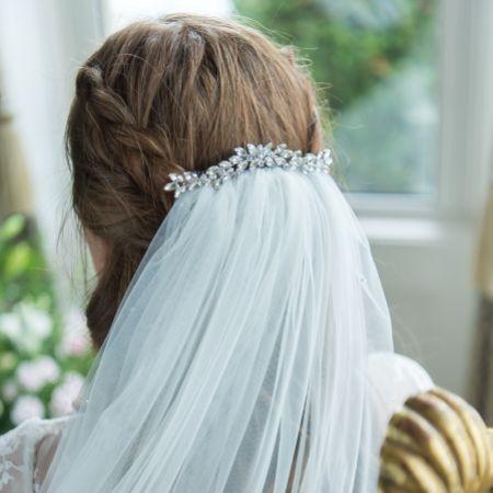 Luna Silver Small Crystal Embellished Wedding Hair Comb
