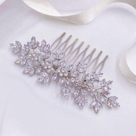 Lustre Crystal Leaves Wedding Hair Comb