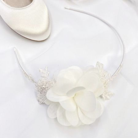 Maisie Ivory Lace and Flower Children's Side Headband