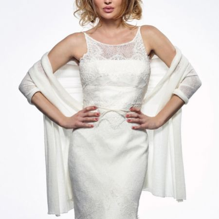 Maria Ivory Fine Knitted Slim Wedding Stole