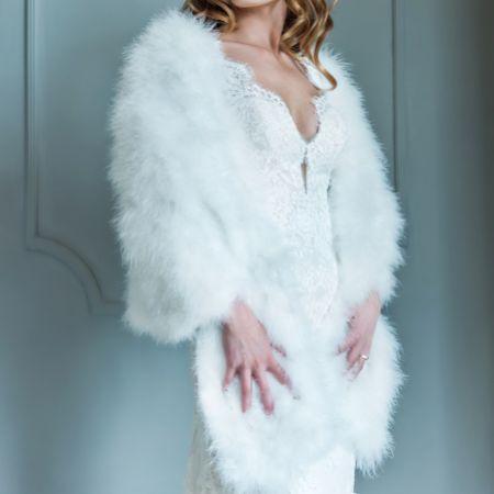 Marlena Ivory Long Feather Bridal Cape