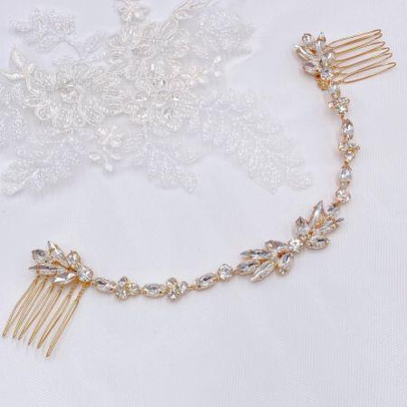 Melody Gold Draped Crystal Wedding Headpiece