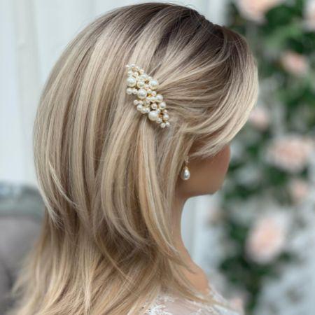 Michaela Small Pearl Gold Hair Comb